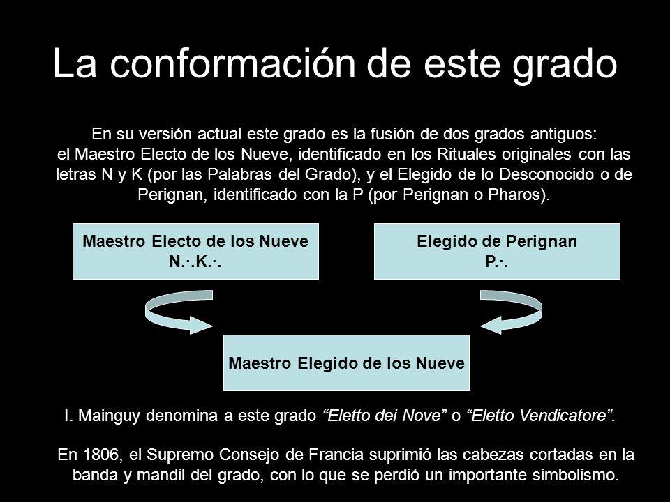 La conformación de este grado I. Mainguy denomina a este grado Eletto dei Nove o Eletto Vendicatore. En su versión actual este grado es la fusión de d
