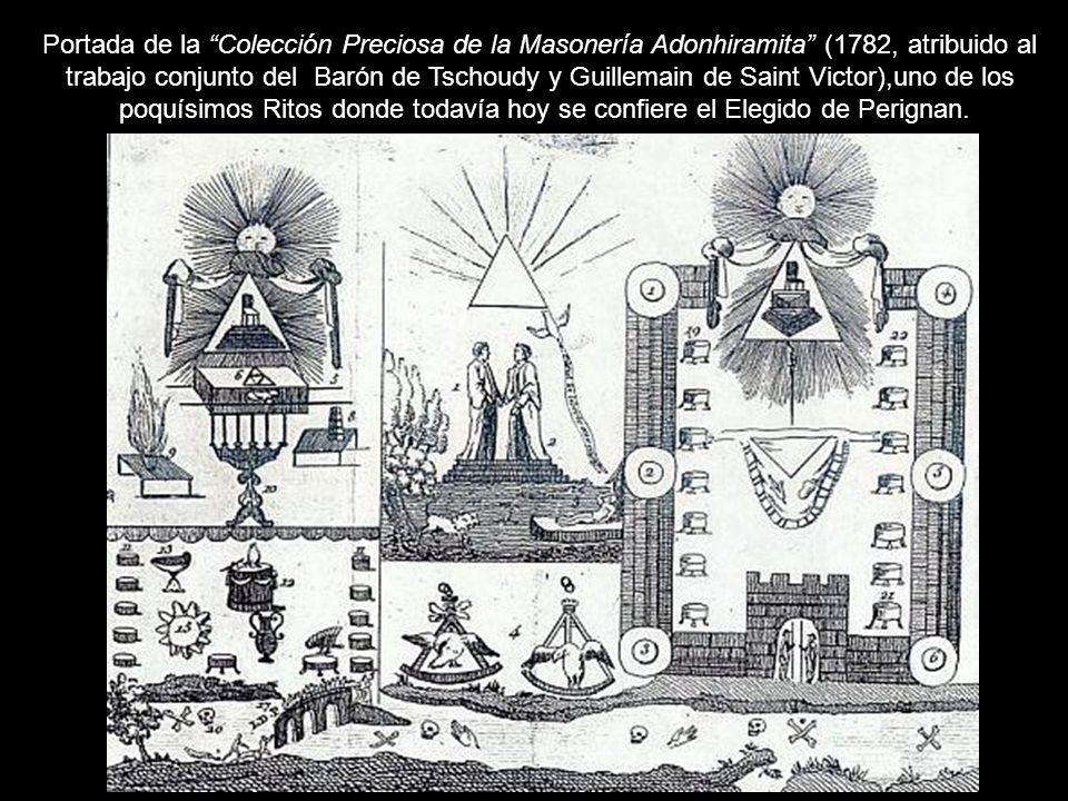 Portada de la Colección Preciosa de la Masonería Adonhiramita (1782, atribuido al trabajo conjunto del Barón de Tschoudy y Guillemain de Saint Victor)