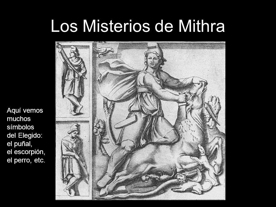 Los Misterios de Mithra Aquí vemos muchos símbolos del Elegido: el puñal, el escorpión, el perro, etc.
