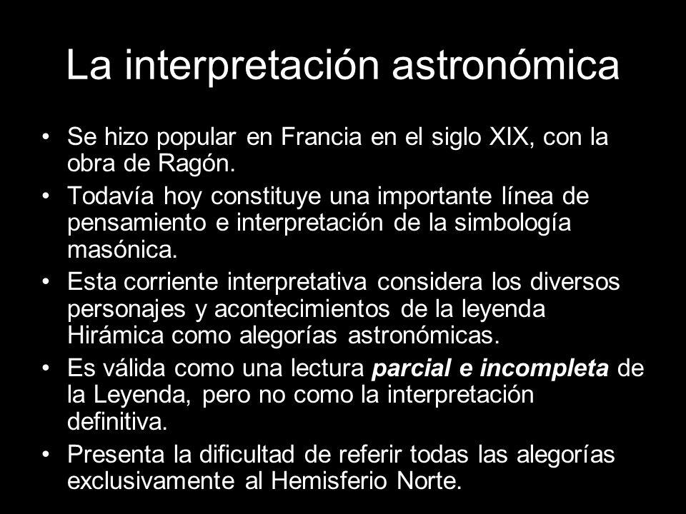 La interpretación astronómica Se hizo popular en Francia en el siglo XIX, con la obra de Ragón. Todavía hoy constituye una importante línea de pensami