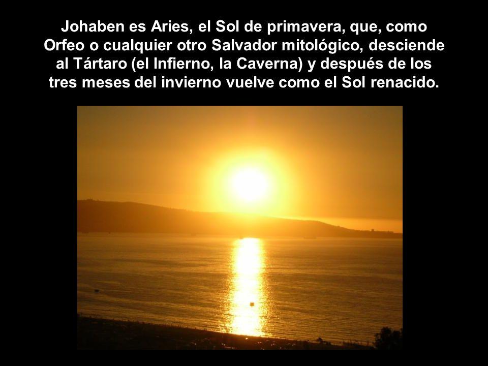 Johaben es Aries, el Sol de primavera, que, como Orfeo o cualquier otro Salvador mitológico, desciende al Tártaro (el Infierno, la Caverna) y después