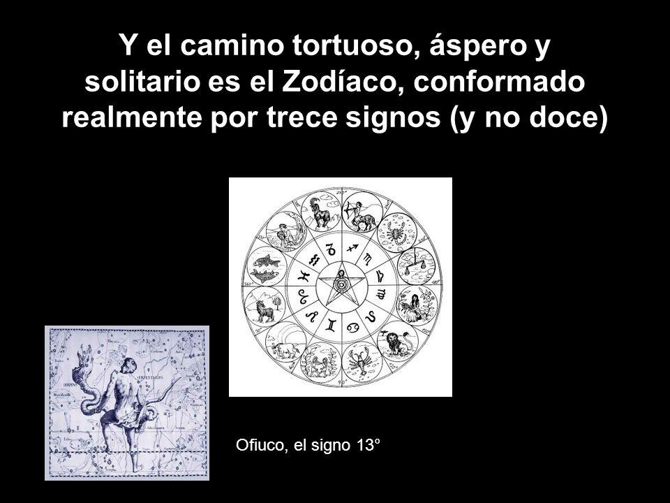 Y el camino tortuoso, áspero y solitario es el Zodíaco, conformado realmente por trece signos (y no doce) Ofiuco, el signo 13°