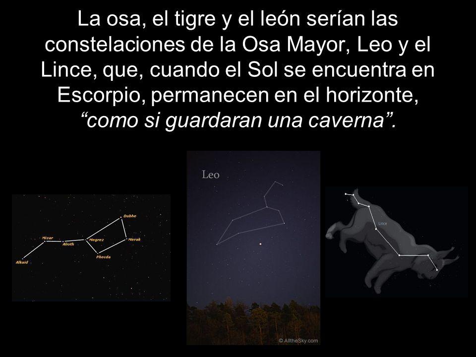 La osa, el tigre y el león serían las constelaciones de la Osa Mayor, Leo y el Lince, que, cuando el Sol se encuentra en Escorpio, permanecen en el ho