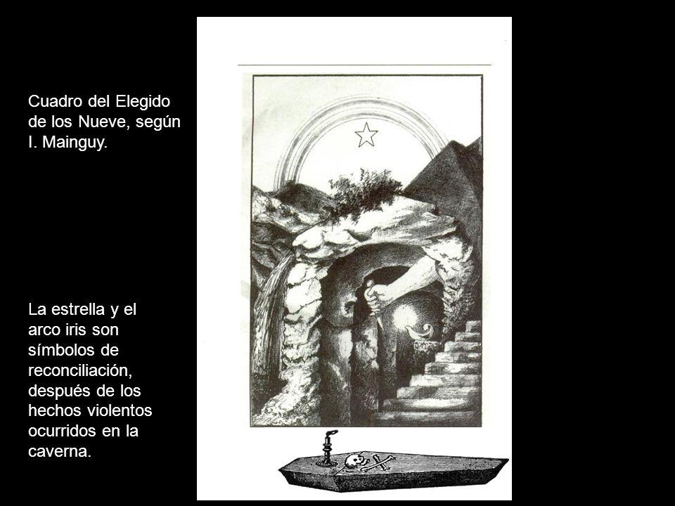 Cuadro del Elegido de los Nueve, según I. Mainguy. La estrella y el arco iris son símbolos de reconciliación, después de los hechos violentos ocurrido