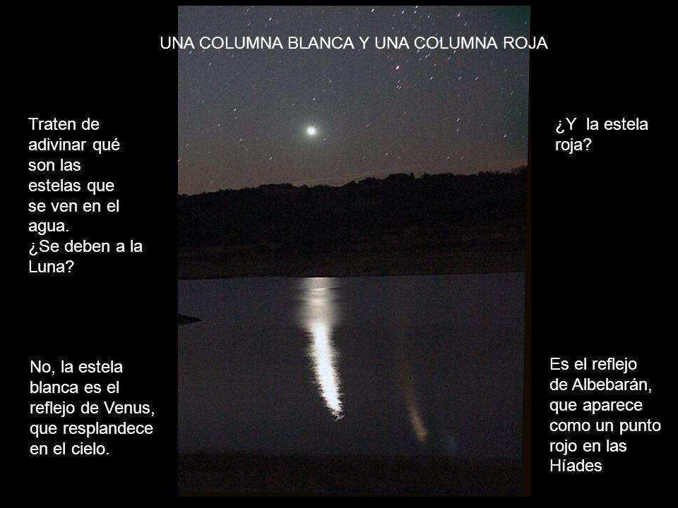 Traten de adivinar qué son las estelas que se ven en el agua. ¿Se deben a la Luna? No, la estela blanca es el reflejo de Venus, que resplandece en el