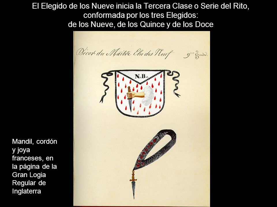 Cuadro del Elegido de los Nueve, de un manuscrito francés de 1770.