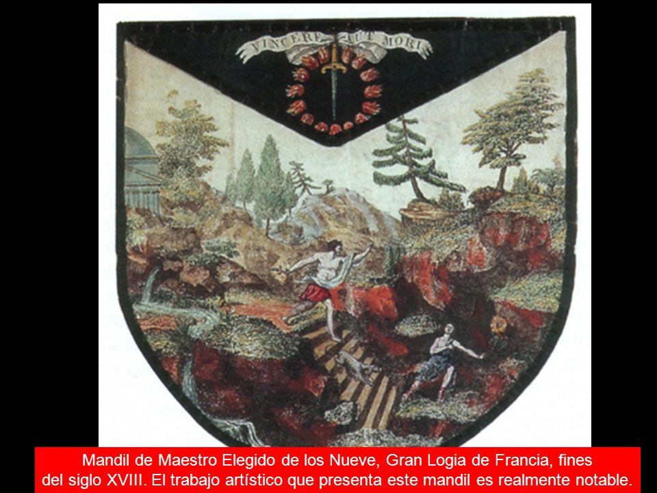 Mandil de Maestro Elegido de los Nueve, Gran Logia de Francia, fines del siglo XVIII. El trabajo artístico que presenta este mandil es realmente notab