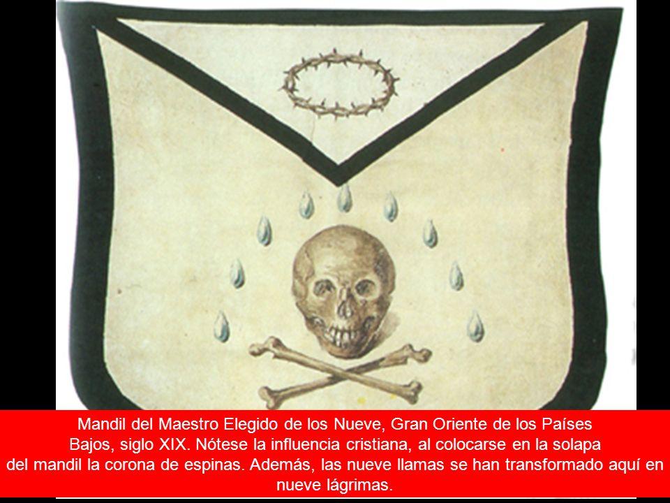 Mandil del Maestro Elegido de los Nueve, Gran Oriente de los Países Bajos, siglo XIX. Nótese la influencia cristiana, al colocarse en la solapa del ma
