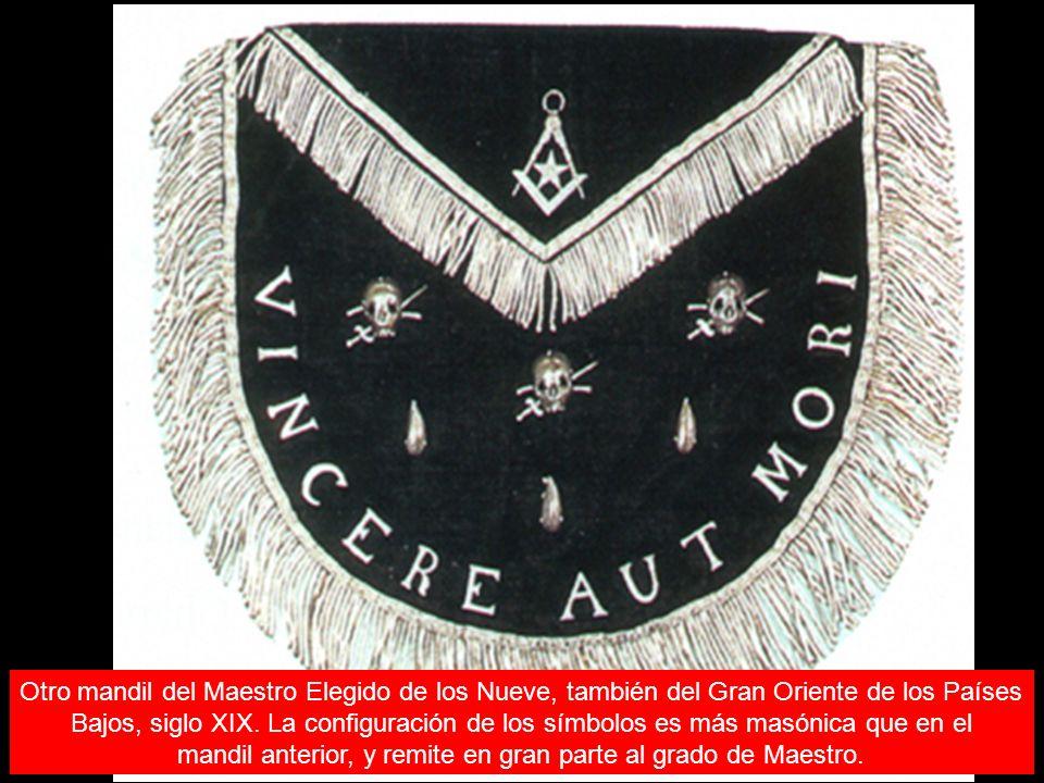 Otro mandil del Maestro Elegido de los Nueve, también del Gran Oriente de los Países Bajos, siglo XIX. La configuración de los símbolos es más masónic