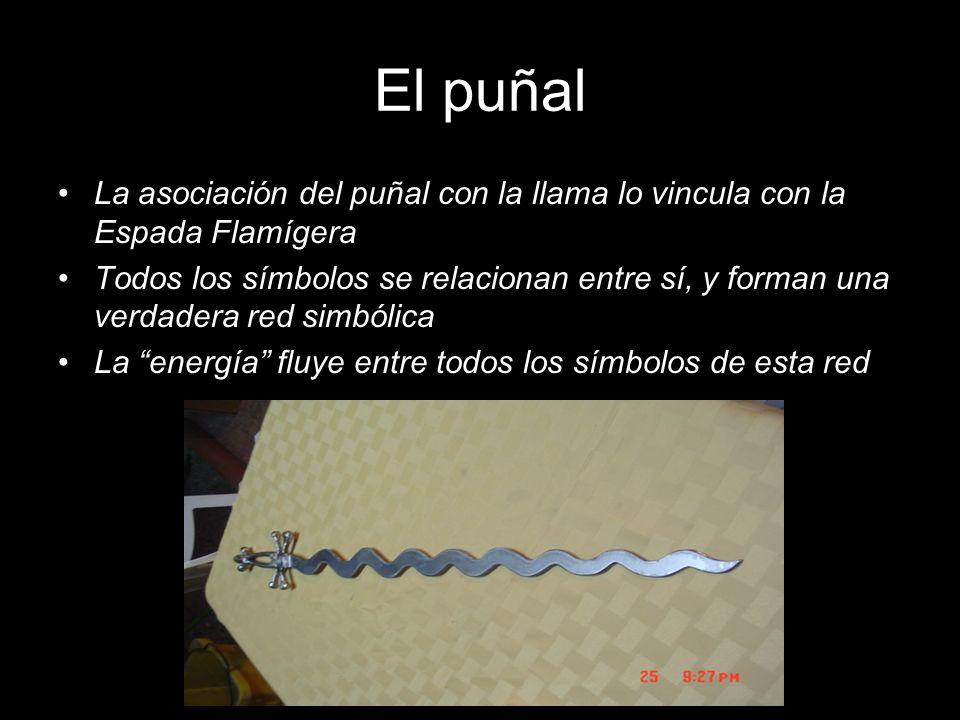 El puñal La asociación del puñal con la llama lo vincula con la Espada Flamígera Todos los símbolos se relacionan entre sí, y forman una verdadera red