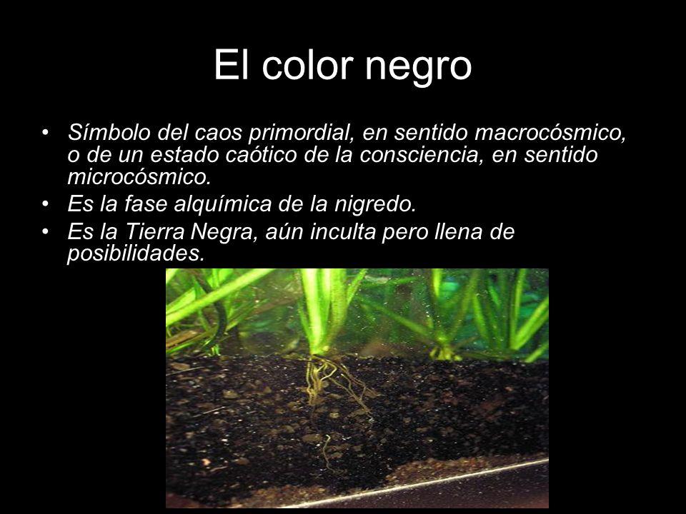 El color negro Símbolo del caos primordial, en sentido macrocósmico, o de un estado caótico de la consciencia, en sentido microcósmico. Es la fase alq