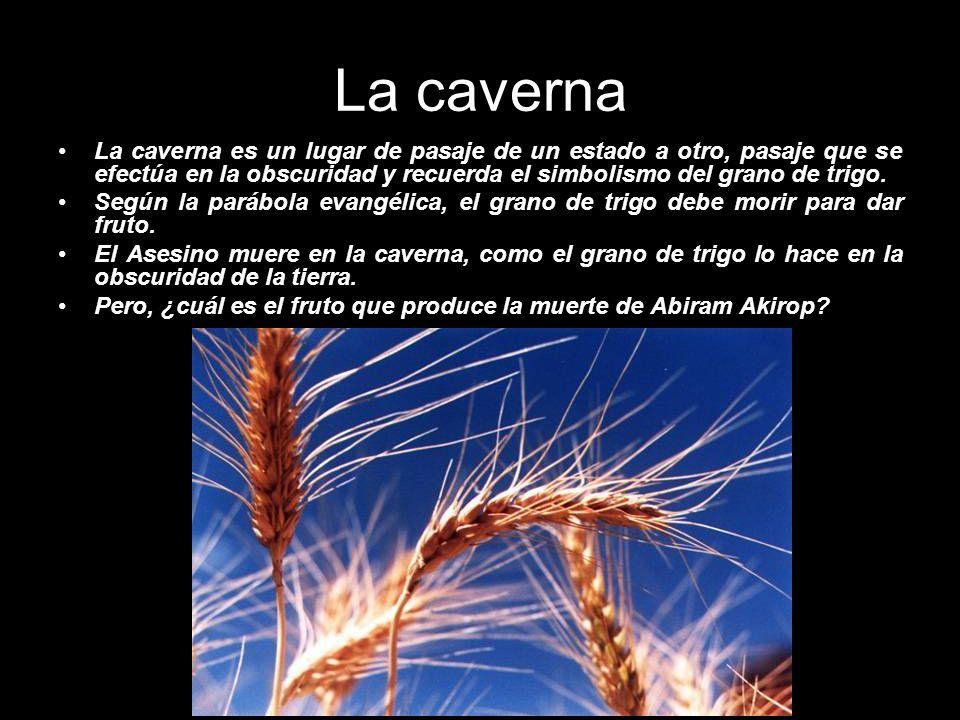 La caverna La caverna es un lugar de pasaje de un estado a otro, pasaje que se efectúa en la obscuridad y recuerda el simbolismo del grano de trigo. S