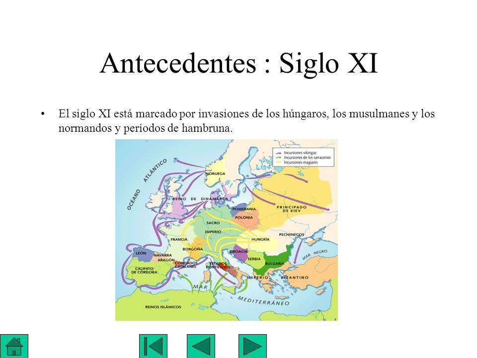 Antecedentes : Siglo XI El siglo XI está marcado por invasiones de los húngaros, los musulmanes y los normandos y períodos de hambruna.