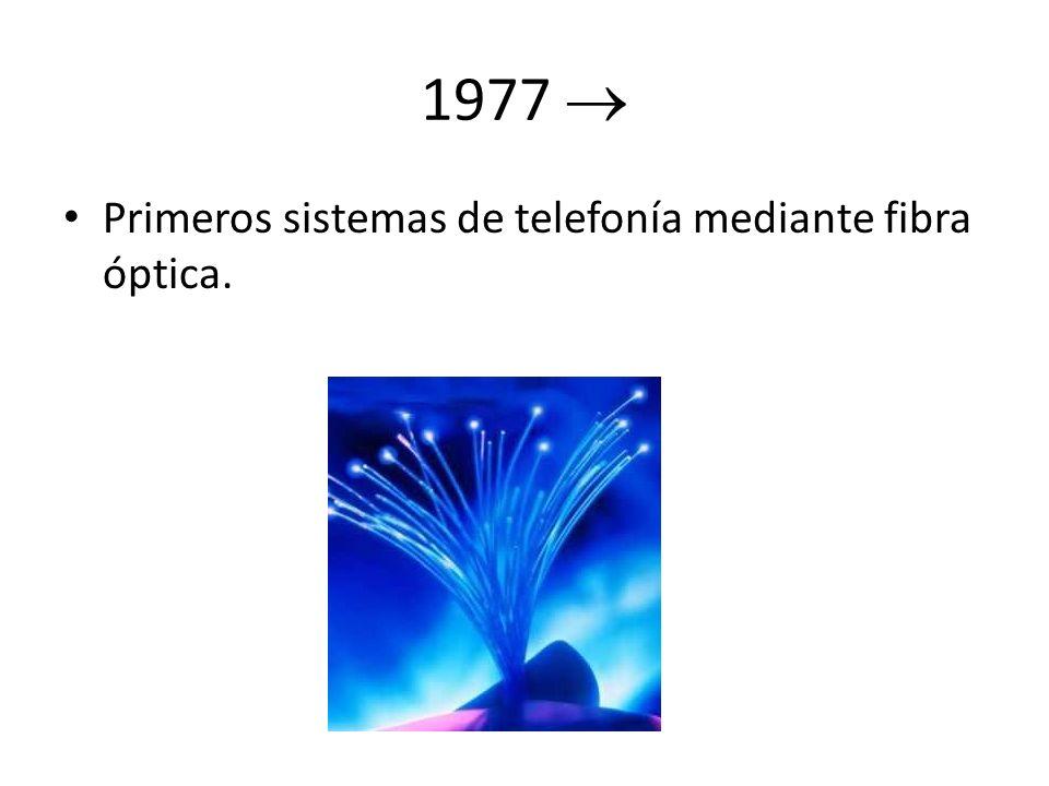 1977 Primeros sistemas de telefonía mediante fibra óptica.