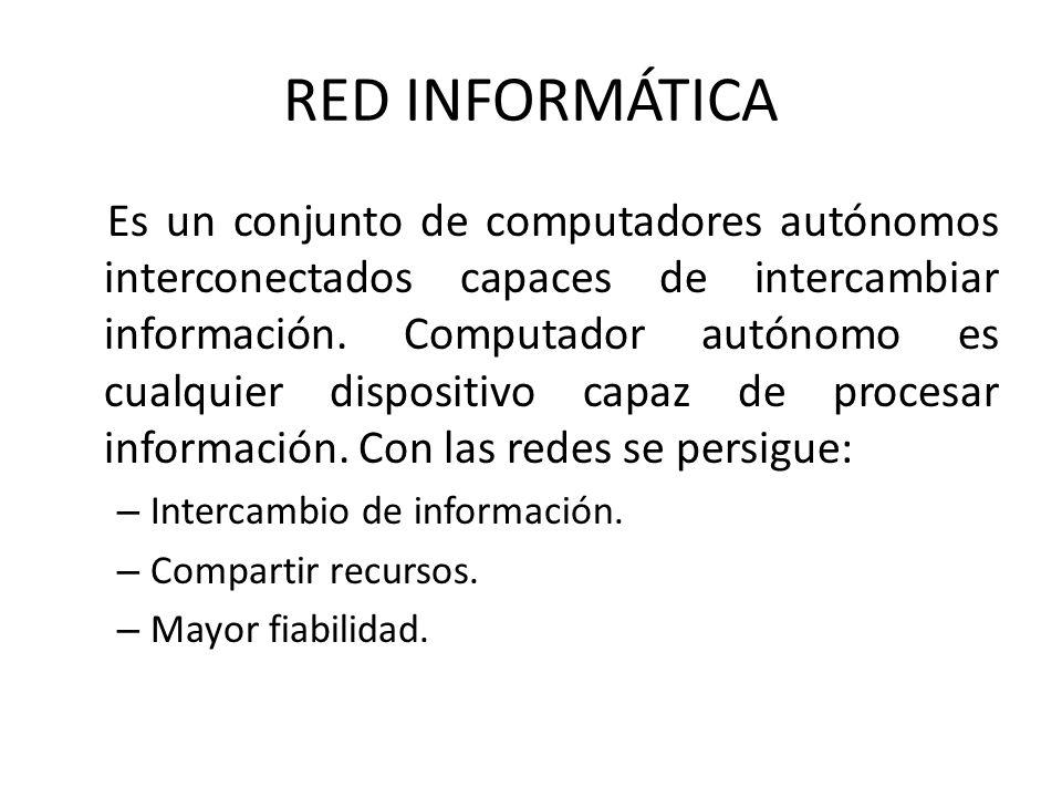 RED INFORMÁTICA Es un conjunto de computadores autónomos interconectados capaces de intercambiar información. Computador autónomo es cualquier disposi