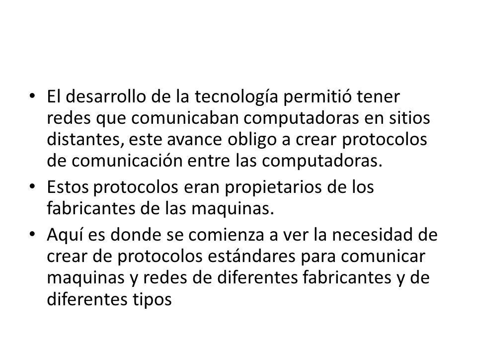 El desarrollo de la tecnología permitió tener redes que comunicaban computadoras en sitios distantes, este avance obligo a crear protocolos de comunic