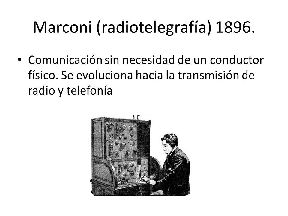 Marconi (radiotelegrafía) 1896. Comunicación sin necesidad de un conductor físico. Se evoluciona hacia la transmisión de radio y telefonía