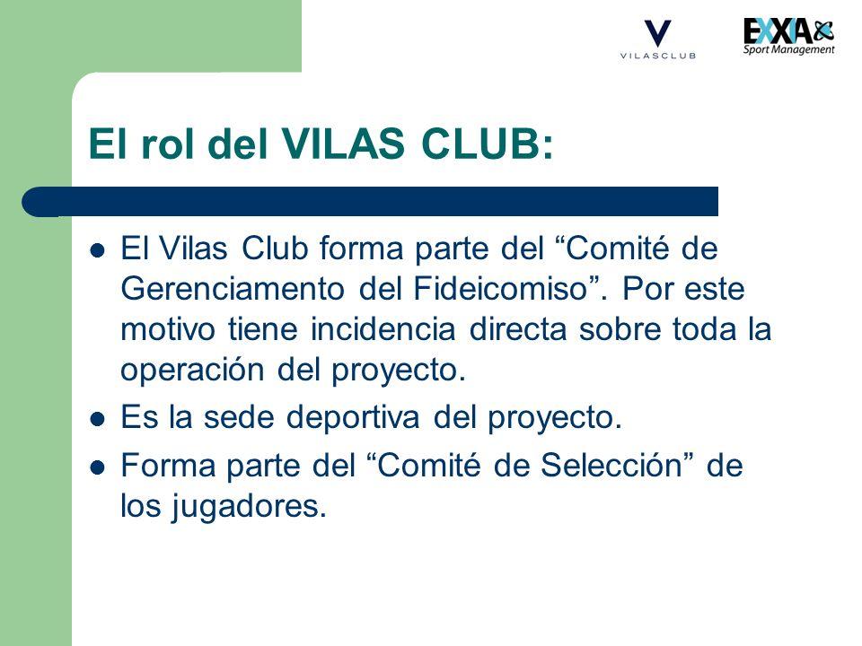 El rol del VILAS CLUB: El Vilas Club forma parte del Comité de Gerenciamento del Fideicomiso. Por este motivo tiene incidencia directa sobre toda la o