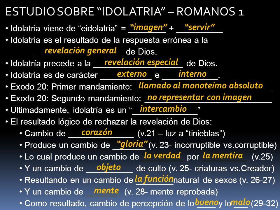 ESTUDIO SOBRE IDOLATRIA – ROMANOS 1 Idolatria viene de eidolatria = ________ + __________ Idolatria es el resultado de la respuesta errónea a la _____