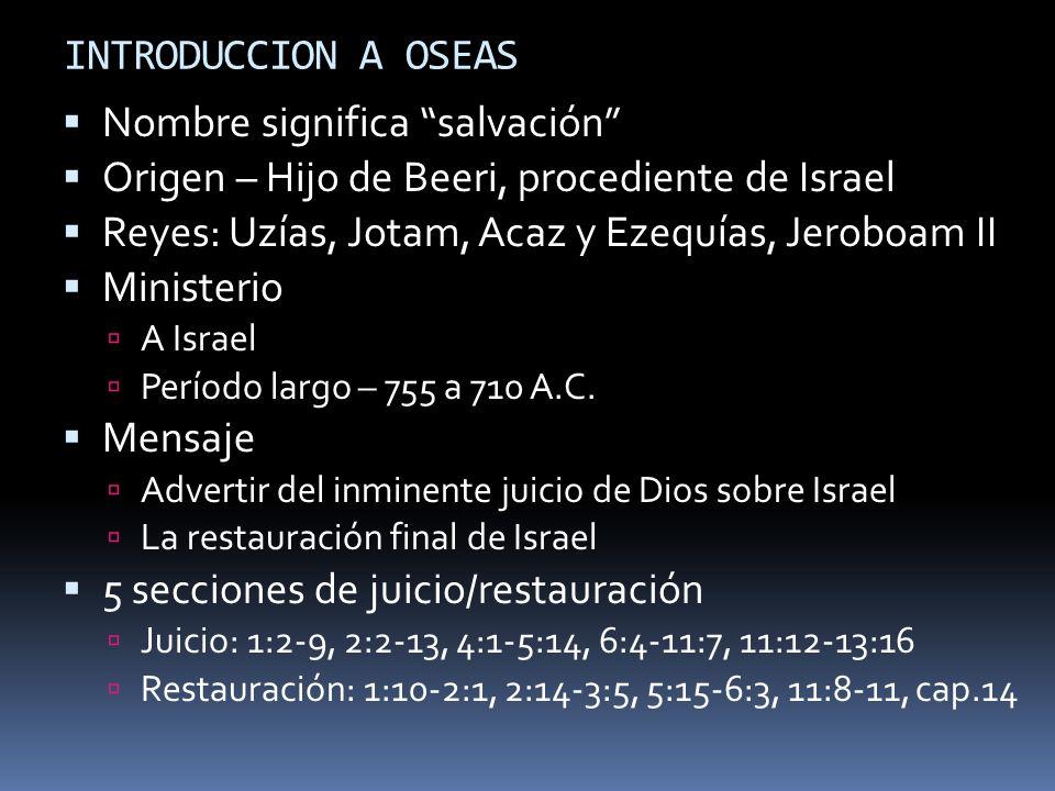 INTRODUCCION A OSEAS Nombre significa salvación Origen – Hijo de Beeri, procediente de Israel Reyes: Uzías, Jotam, Acaz y Ezequías, Jeroboam II Minist