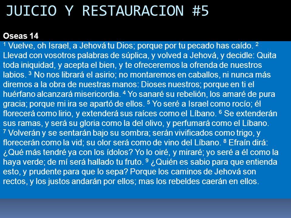 JUICIO Y RESTAURACION #5 Oseas 14 1 Vuelve, oh Israel, a Jehová tu Dios; porque por tu pecado has caído. 2 Llevad con vosotros palabras de súplica, y