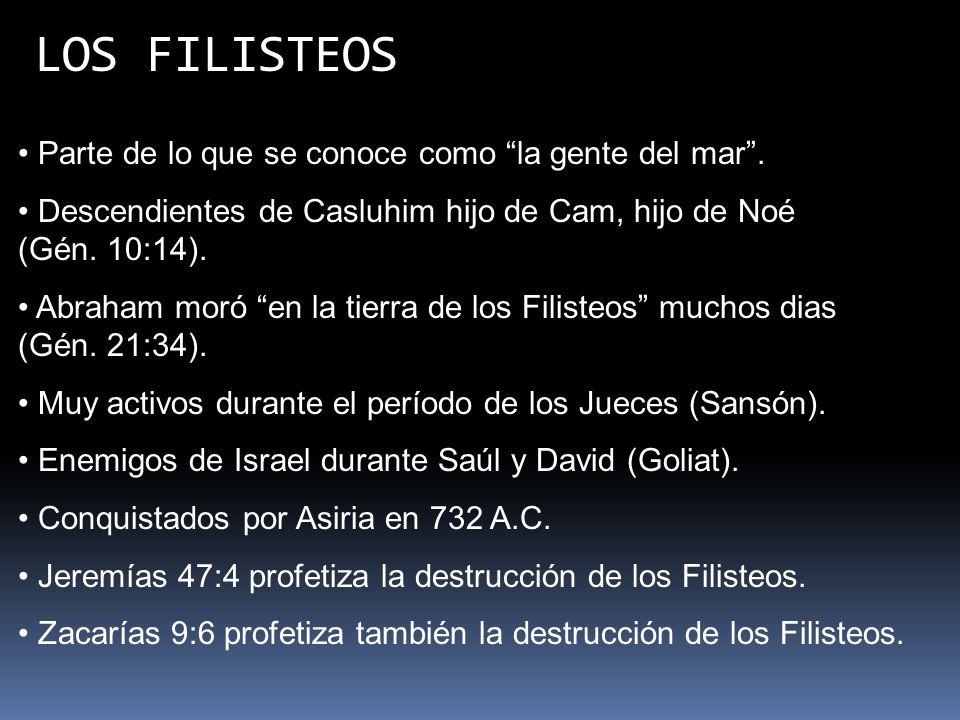 LOS FILISTEOS Parte de lo que se conoce como la gente del mar. Descendientes de Casluhim hijo de Cam, hijo de Noé (Gén. 10:14). Abraham moró en la tie