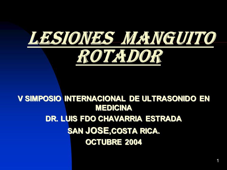 1 lesiones manguito rotador V SIMPOSIO INTERNACIONAL DE ULTRASONIDO EN MEDICINA DR. LUIS FDO CHAVARRIA ESTRADA SAN JOSE,COSTA RICA. OCTUBRE 2004