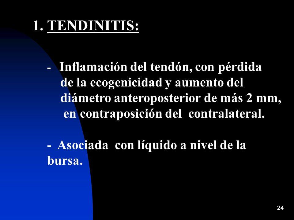 24 1.TENDINITIS: - Inflamación del tendón, con pérdida de la ecogenicidad y aumento del diámetro anteroposterior de más 2 mm, en contraposición del co