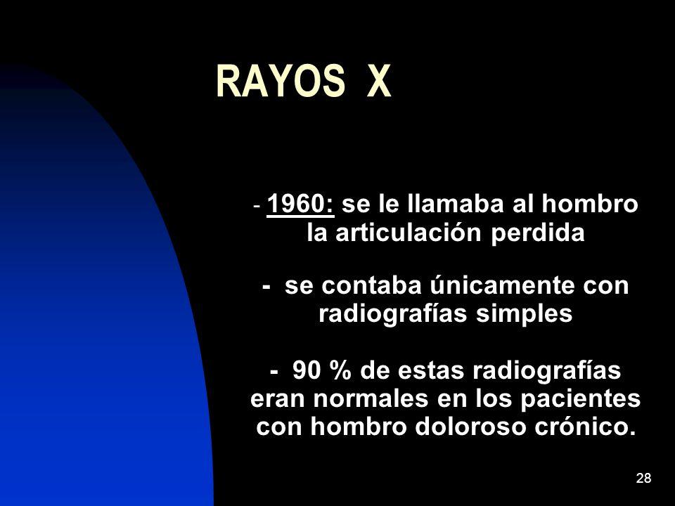 28 RAYOS X - 1960: se le llamaba al hombro la articulación perdida - se contaba únicamente con radiografías simples - 90 % de estas radiografías eran