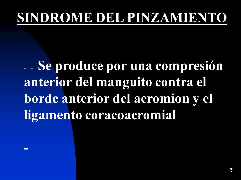 3 SINDROME DEL PINZAMIENTO - - Se produce por una compresión anterior del manguito contra el borde anterior del acromion y el ligamento coracoacromial