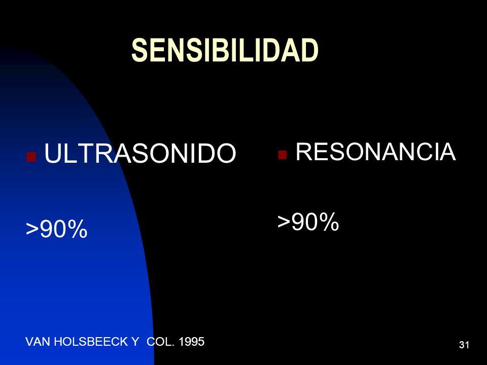 31 SENSIBILIDAD RESONANCIA >90% ULTRASONIDO >90% VAN HOLSBEECK Y COL. 1995