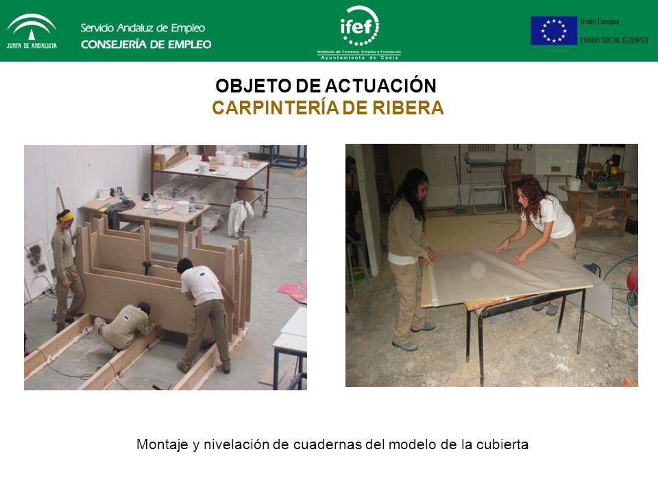 OBJETO DE ACTUACIÓN CARPINTERÍA DE RIBERA Montaje y fijación de la cama para el modelo de la cubierta