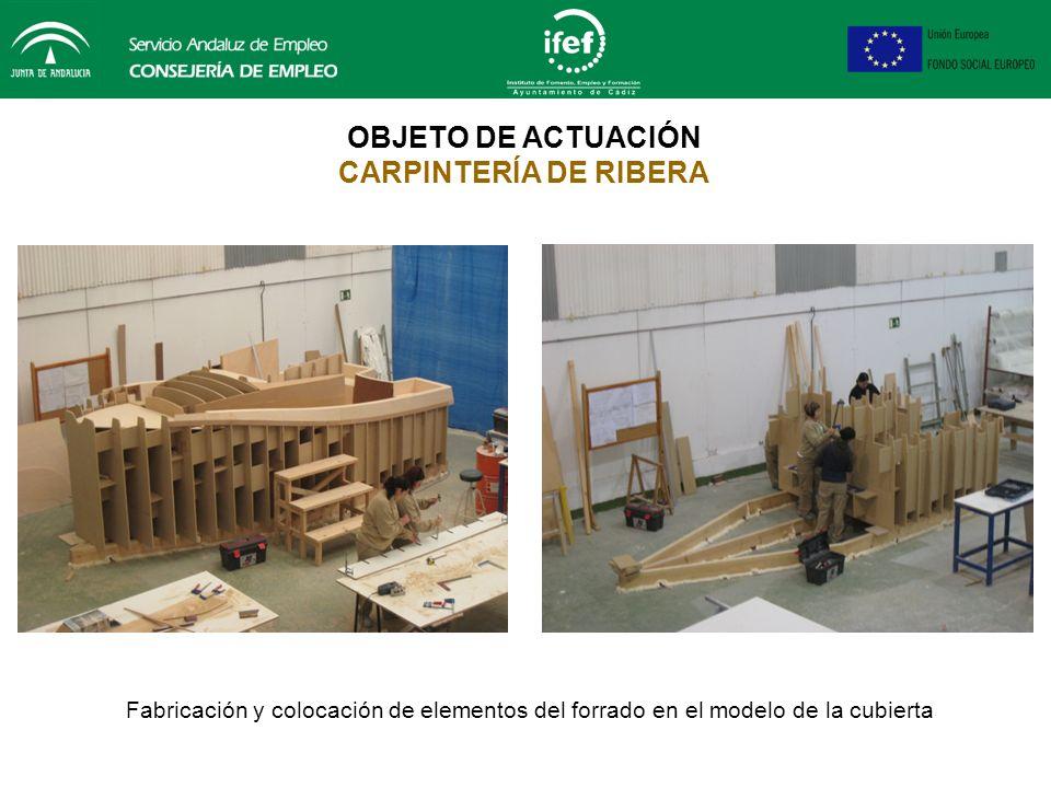 OBJETO DE ACTUACIÓN CARPINTERÍA DE RIBERA Montaje y nivelación de cuadernas del modelo de la cubierta