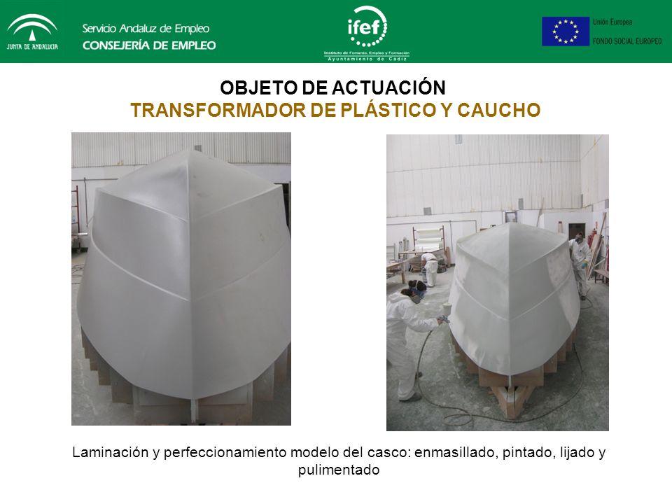 OBJETO DE ACTUACIÓN TRANSFORMADOR DE PLÁSTICO Y CAUCHO Laminación y perfeccionamiento modelo del casco. Proceso de estructurado de la madera con resin
