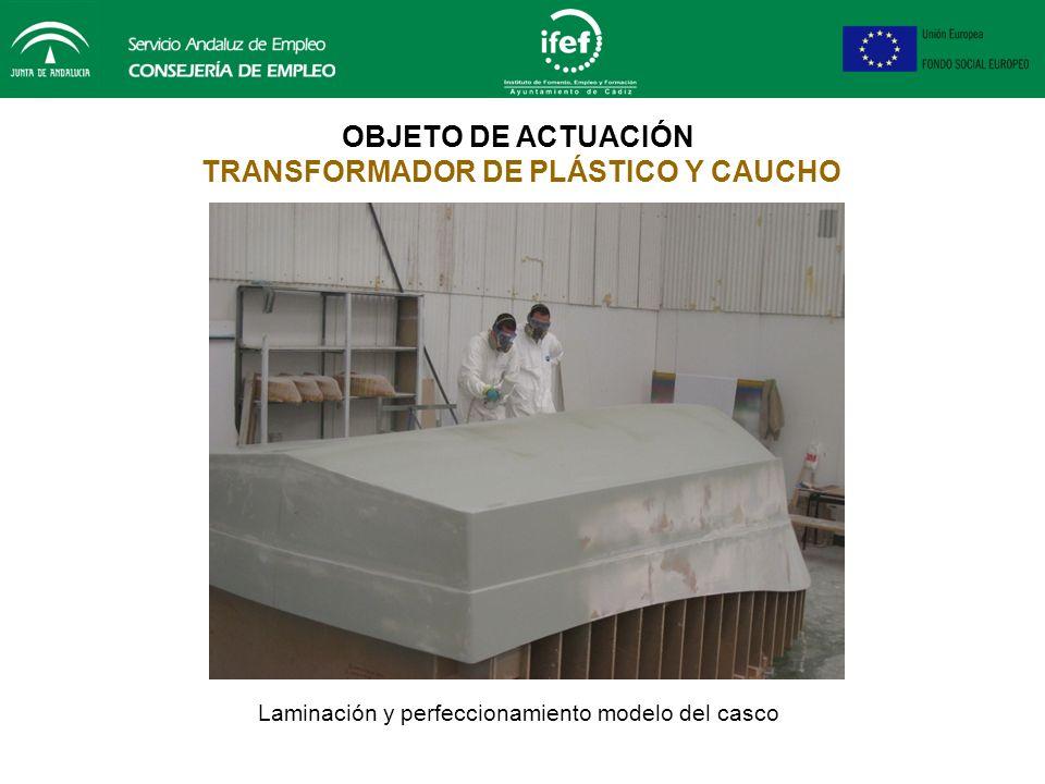 OBJETO DE ACTUACIÓN TRANSFORMADOR DE PLÁSTICO Y CAUCHO Laminación y perfeccionamiento modelo del casco: enmasillado, pintado, lijado y pulimentado