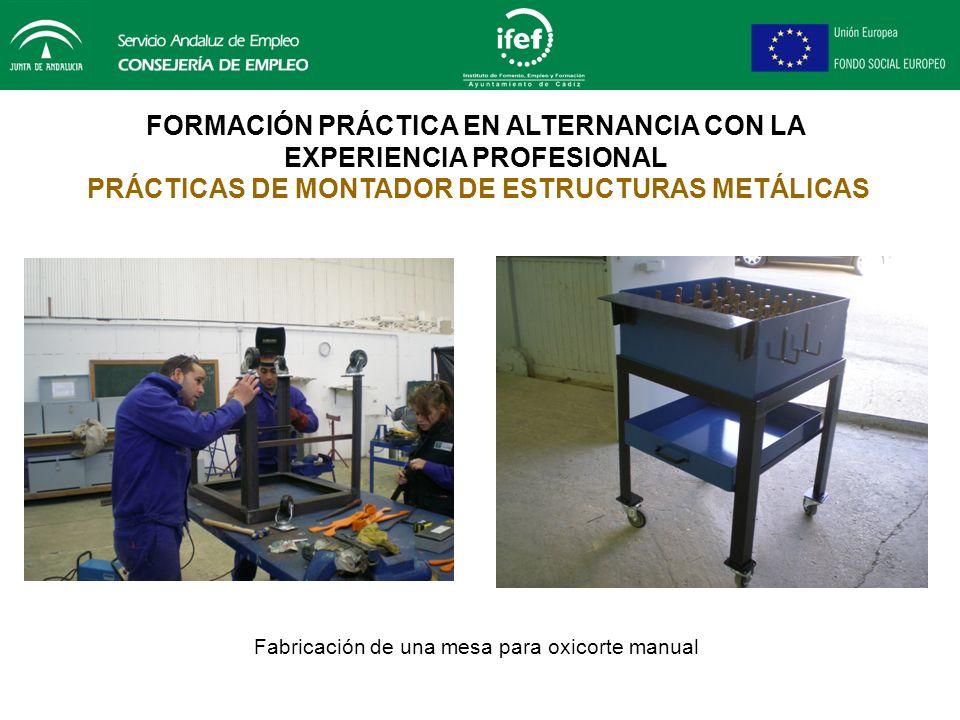 FORMACIÓN PRÁCTICA EN ALTERNANCIA CON LA EXPERIENCIA PROFESIONAL PRÁCTICAS DE CARPINTERÍA DE RIBERA Fabricación de escalera de madera para acceso al m