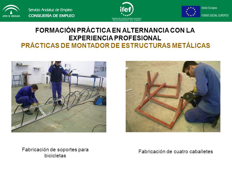 FORMACIÓN PRÁCTICA EN ALTERNANCIA CON LA EXPERIENCIA PROFESIONAL PRÁCTICAS DE MONTADOR DE ESTRUCTURAS METÁLICAS Fabricación de cuatro soportes para bi