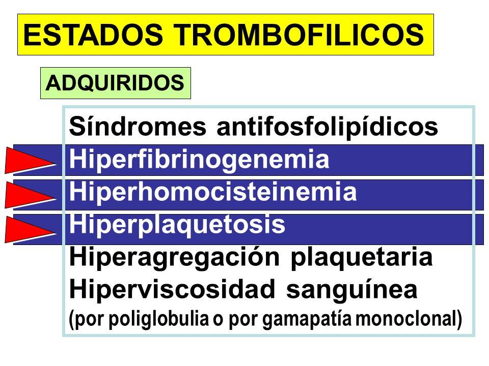 ESTADOS TROMBOFILICOS ADQUIRIDOS Síndromes antifosfolipídicos Hiperfibrinogenemia Hiperhomocisteinemia Hiperplaquetosis Hiperagregación plaquetaria Hi