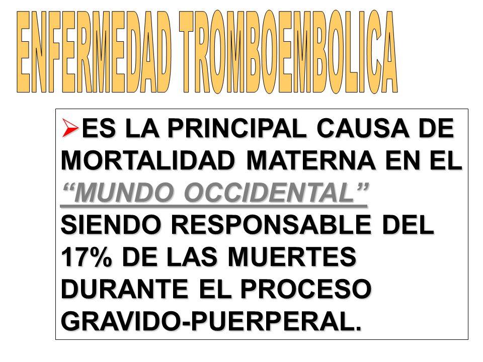 ES LA PRINCIPAL CAUSA DE MORTALIDAD MATERNA EN EL MUNDO OCCIDENTAL SIENDO RESPONSABLE DEL 17% DE LAS MUERTES DURANTE EL PROCESO GRAVIDO-PUERPERAL. ES