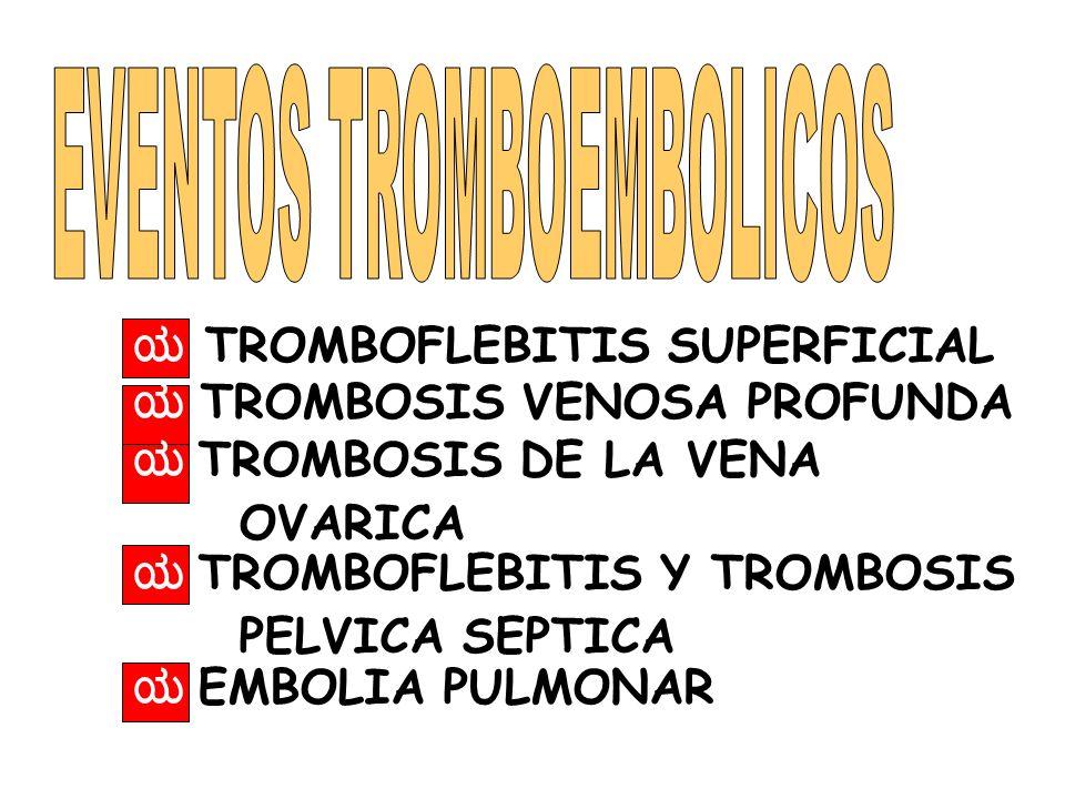 TROMBOFLEBITIS SUPERFICIAL TROMBOSIS VENOSA PROFUNDA TROMBOSIS DE LA VENA OVARICA TROMBOFLEBITIS Y TROMBOSIS PELVICA SEPTICA EMBOLIA PULMONAR