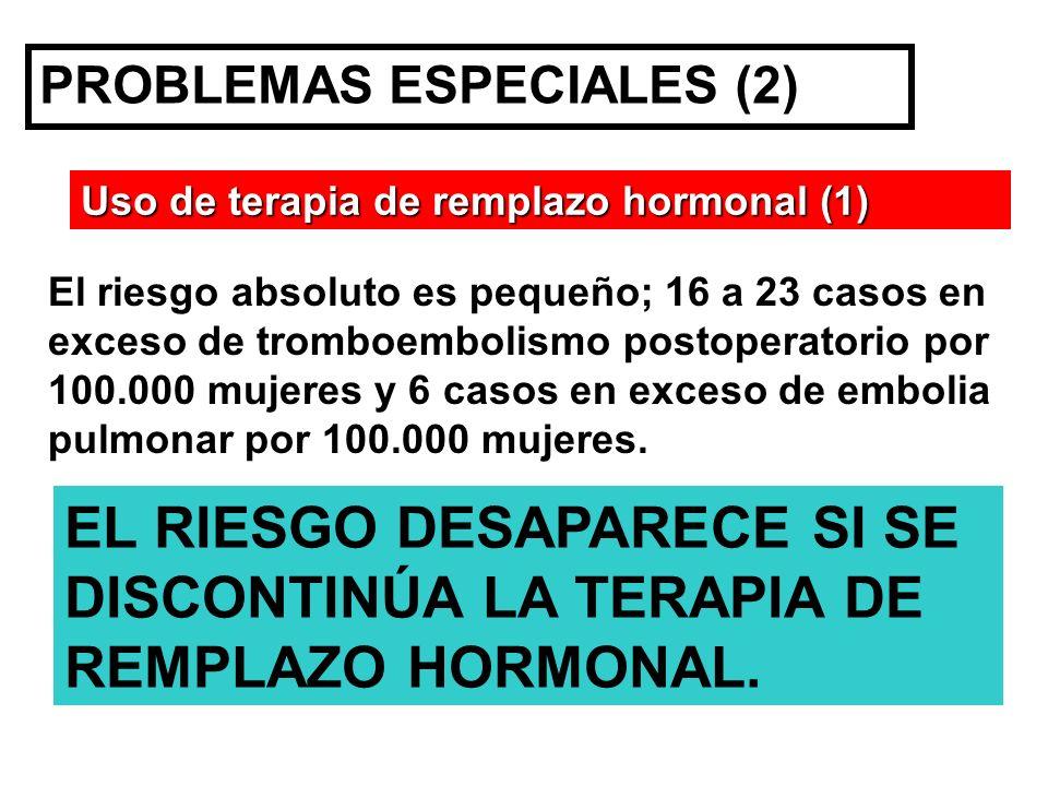 PROBLEMAS ESPECIALES (2) Uso de terapia de remplazo hormonal (1) EL RIESGO DESAPARECE SI SE DISCONTINÚA LA TERAPIA DE REMPLAZO HORMONAL. El riesgo abs