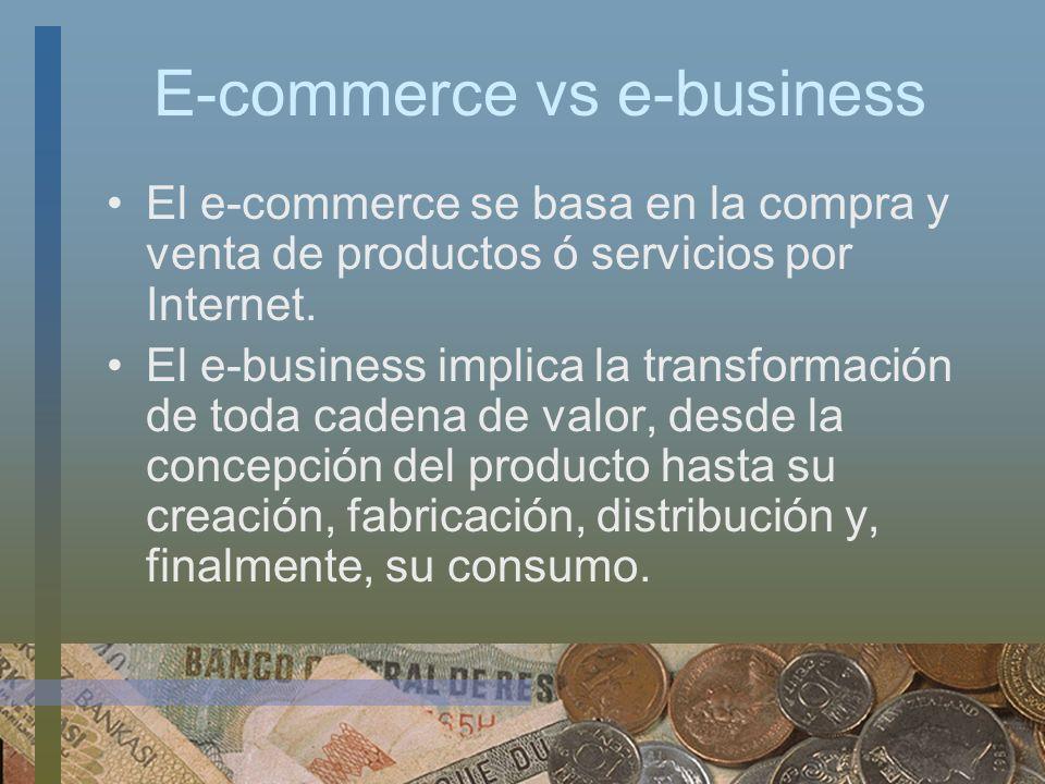 E-commerce vs e-business El e-commerce se basa en la compra y venta de productos ó servicios por Internet. El e-business implica la transformación de