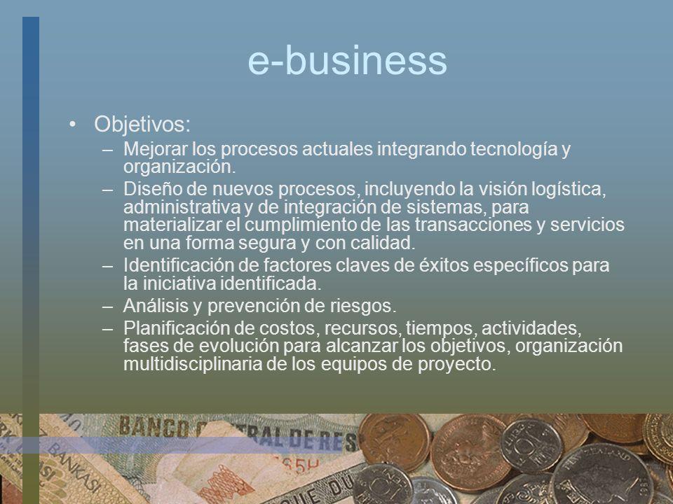 e-business Objetivos: –Mejorar los procesos actuales integrando tecnología y organización. –Diseño de nuevos procesos, incluyendo la visión logística,