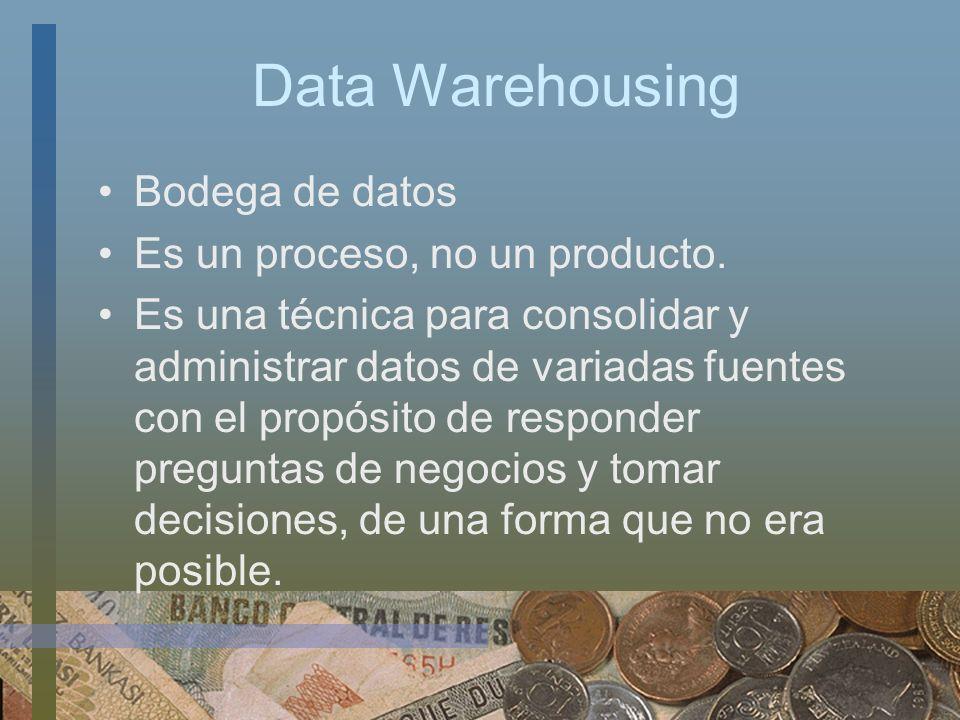 Data Warehousing Bodega de datos Es un proceso, no un producto. Es una técnica para consolidar y administrar datos de variadas fuentes con el propósit