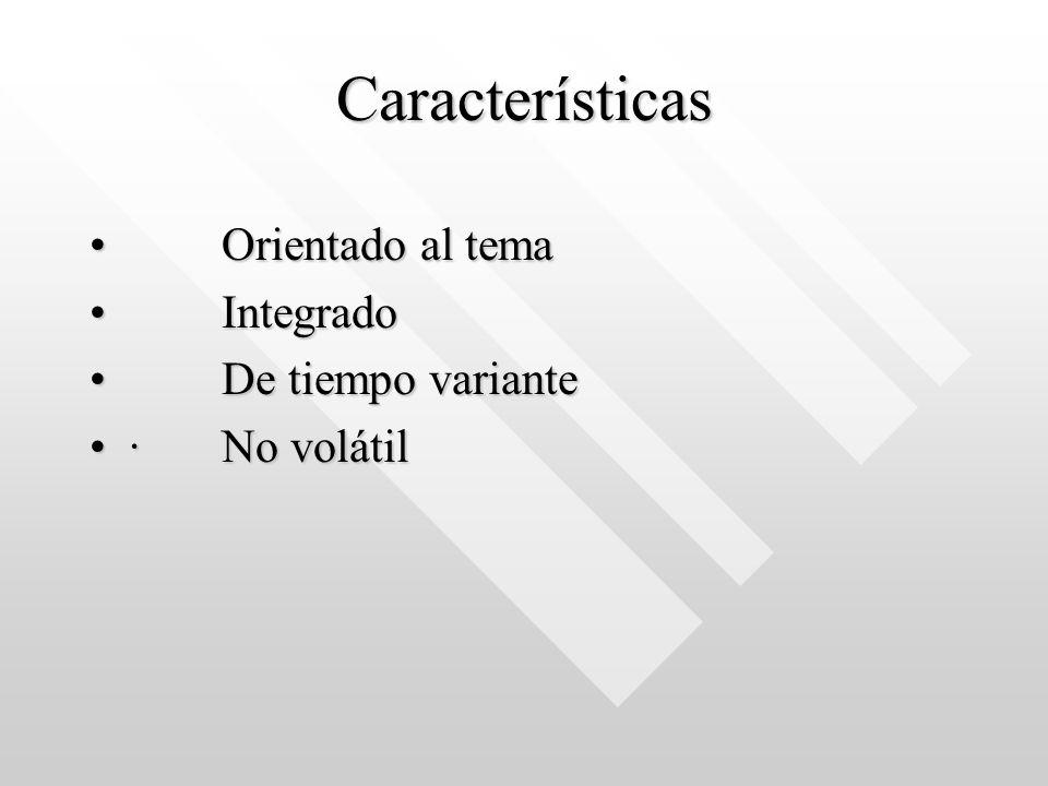 Características Orientado al tema Orientado al tema Integrado Integrado De tiempo variante De tiempo variante · No volátil· No volátil