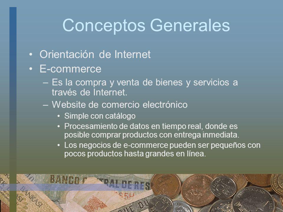 Conceptos Generales Orientación de Internet E-commerce –Es la compra y venta de bienes y servicios a través de Internet. –Website de comercio electrón