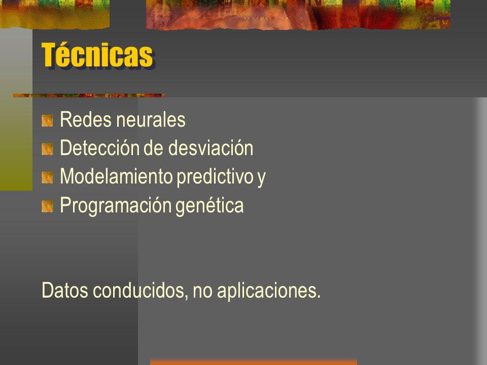 Técnicas Redes neurales Detección de desviación Modelamiento predictivo y Programación genética Datos conducidos, no aplicaciones.