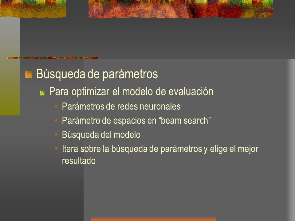 Búsqueda de parámetros Para optimizar el modelo de evaluación Parámetros de redes neuronales Parámetro de espacios en beam search Búsqueda del modelo
