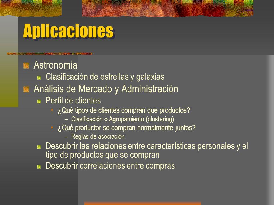 Aplicaciones Astronomía Clasificación de estrellas y galaxias Análisis de Mercado y Administración Perfil de clientes ¿Qué tipos de clientes compran q