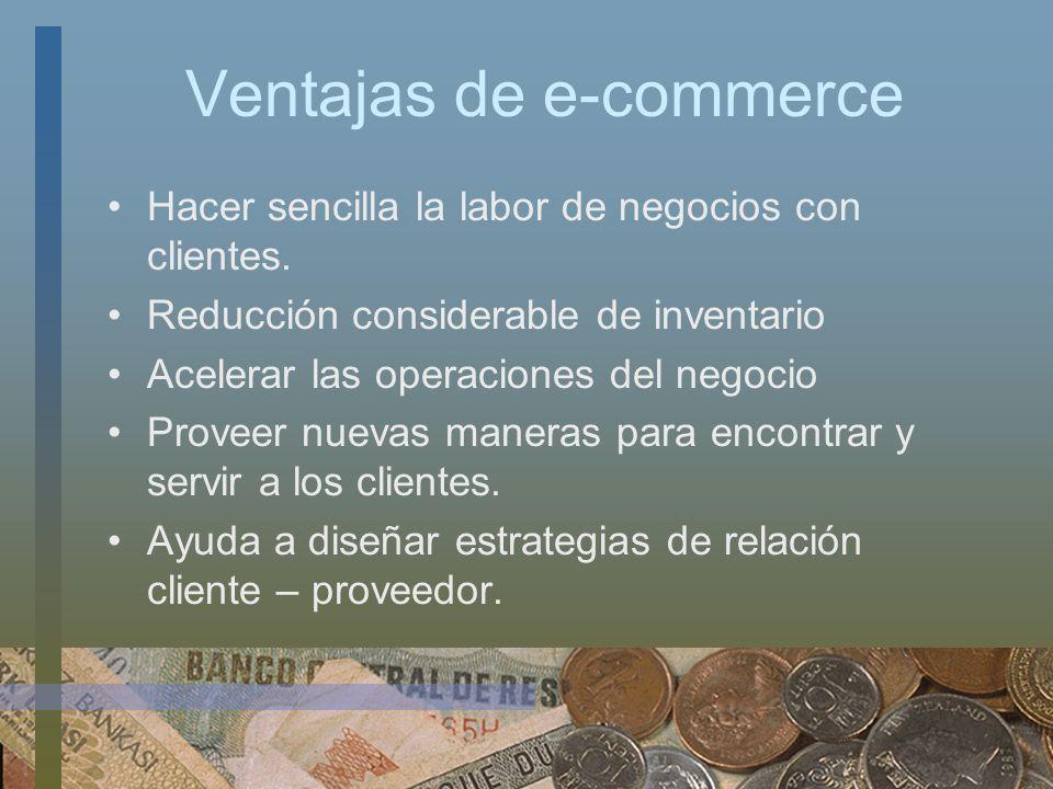 Ventajas de e-commerce Hacer sencilla la labor de negocios con clientes. Reducción considerable de inventario Acelerar las operaciones del negocio Pro